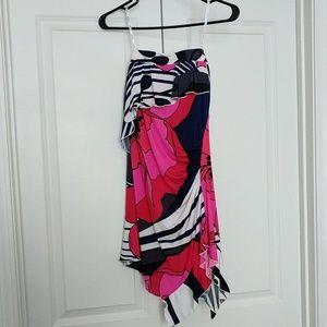XOXO Asymmetrical Strapless Floral Dress